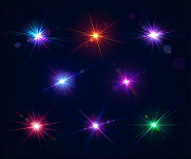 Conjunto de destellos de lente. efectos de luz del deslumbramiento