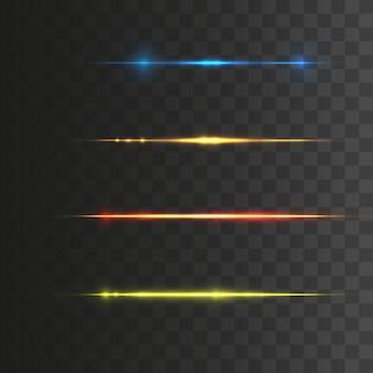 Conjunto de destellos de lente horizontal