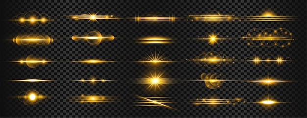 Conjunto de destellos de lente de luz dorada transparente rayas