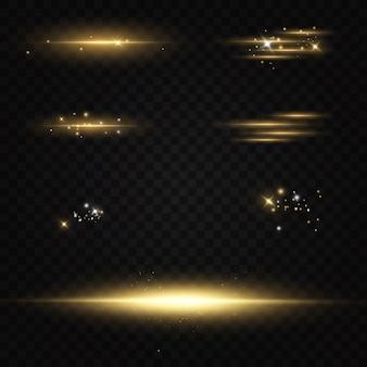 Conjunto de destellos, luces y destellos sobre un fondo transparente. destellos brillantes y resplandores. resumen luces aisladas brillantes rayos de luz. líneas brillantes