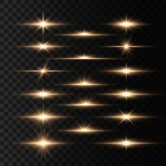 Conjunto de destellos, luces y destellos en un transparente