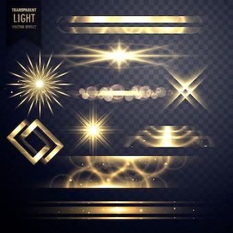 Conjunto de destellos de luz destellos de efecto y destellos de lente