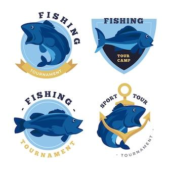 Conjunto detallado de insignias de pesca vintage