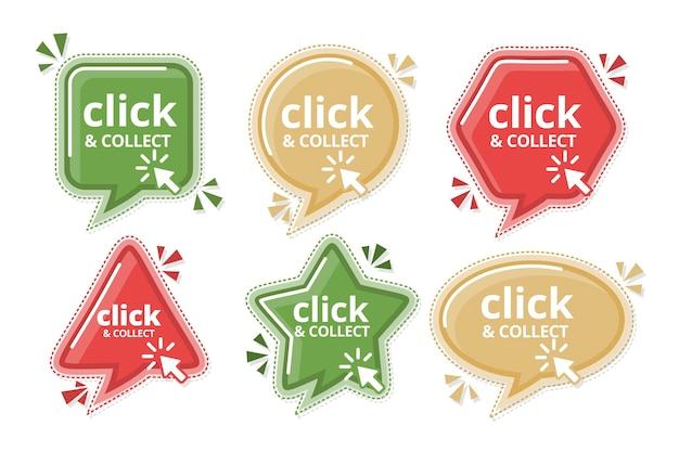 Conjunto detallado de letreros de clic y recopilación