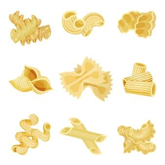 Conjunto detallado de pasta italiana tradicional de diferentes formas. macarrones crudos. alimentos orgánicos