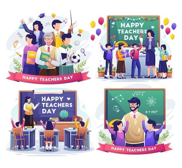 Conjunto de día del maestro con el maestro y los estudiantes celebran la ilustración del día del maestro