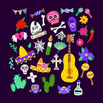 Conjunto dia de los muertos. ilustración de vector de objetos de vacaciones mexicanas. dia de los muertos.