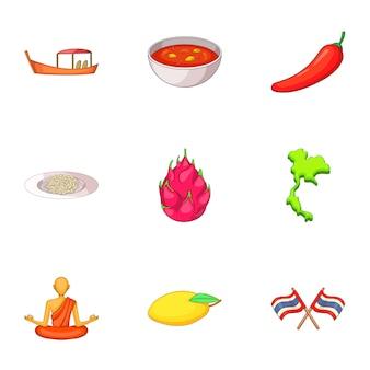Conjunto de día de tailandia, estilo de dibujos animados