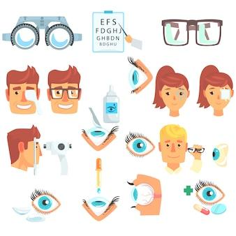 Conjunto de diagnóstico de oftalmólogo, tratamiento y corrección de ilustraciones de dibujos animados de visión sobre un fondo blanco
