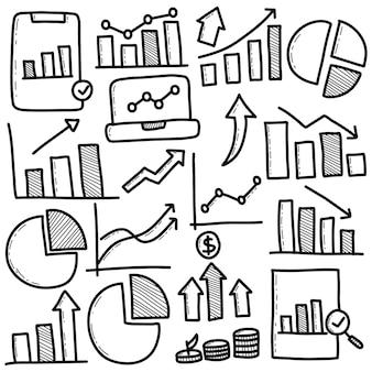 Conjunto de diagrama de negocios dibujado a mano