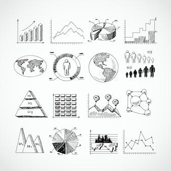 Conjunto de diagramas de croquis.