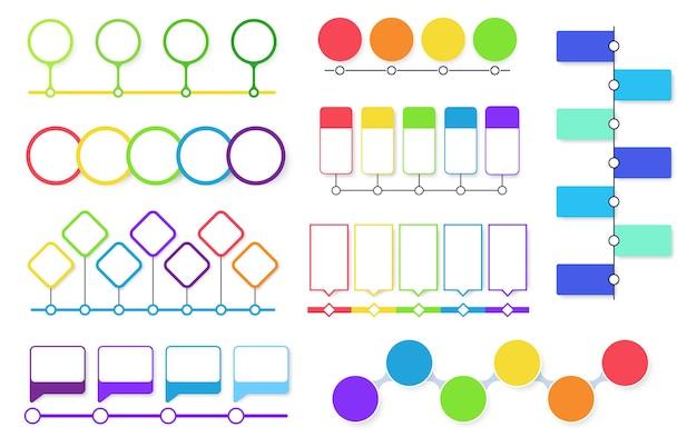 Conjunto de diagramas de flujo de línea de tiempo