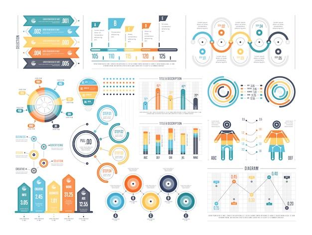 Conjunto de diagramas infográficos coloridos