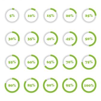 Conjunto de diagramas de porcentaje de círculo del 5 al 100 para infografías