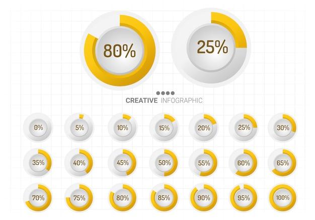 Conjunto de diagramas de porcentaje de círculo para infografías.