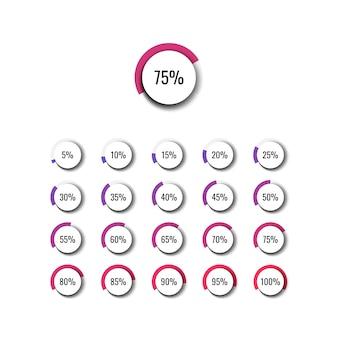 Conjunto de diagramas de porcentaje de círculo con pasos de 5%. ilustración para diagramas infográficos, diseños web