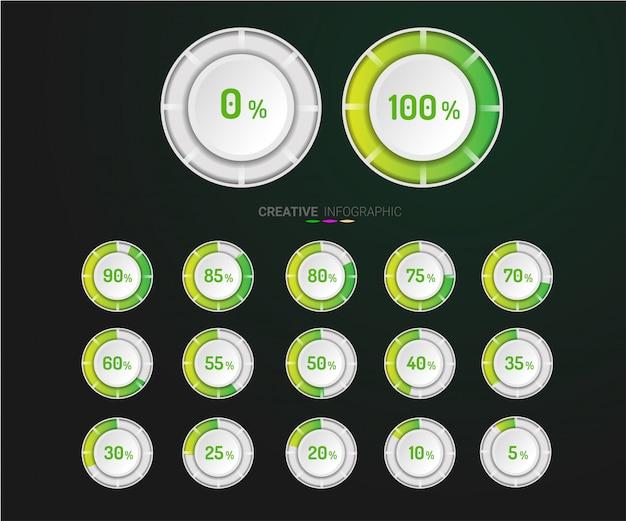Conjunto de diagramas de porcentaje de círculo.