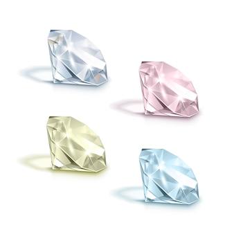 Conjunto de diamantes de color azul claro, rosa, amarillo y blanco brillante brillante aislado sobre fondo blanco.
