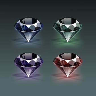Conjunto de diamantes de color azul oscuro, púrpura, verde y rojo brillante claro aislado en oscuro