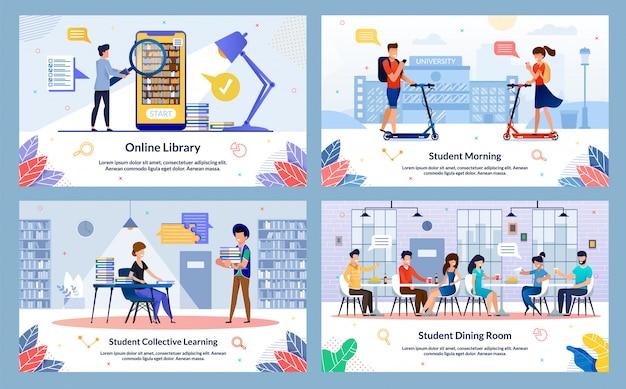 Conjunto de diapositivas de la biblioteca en línea