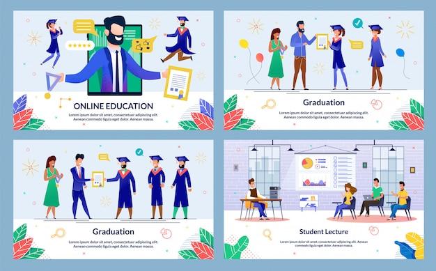 Conjunto de diapositivas de educación y graduación en línea