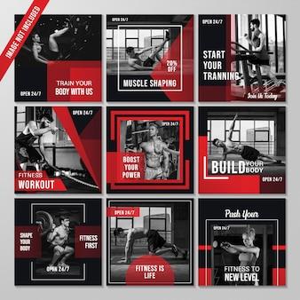 Conjunto de diapositivas modernas simples editables para publicaciones de redes sociales de fitness