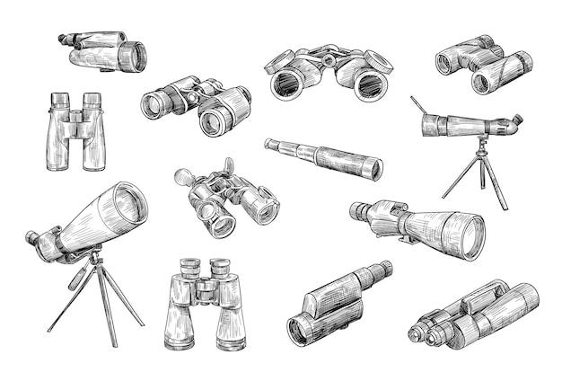 Conjunto dibujado de binoculares y telescopios antiguos y militares.