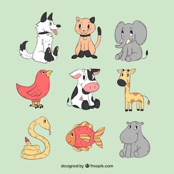 Conjunto dibujado a mano de animales de dibujos animados