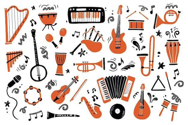 Conjunto dibujado a mano de diferentes tipos de instrumentos musicales.