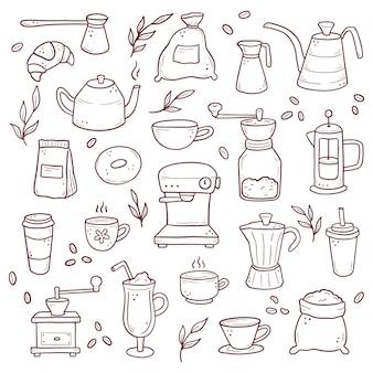 Conjunto dibujado a mano de diferentes tipos de tazas de café.