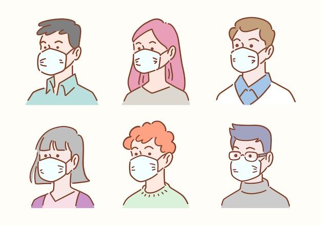 Conjunto dibujado a mano de diversas personas avatar con máscaras de protección contra enfermedades o contaminación, concepto de salud e higiene, diseño plano de la ilustración.