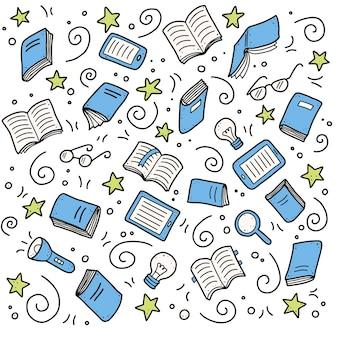 Conjunto dibujado a mano de elementos de doodle de libro, libro electrónico, lámpara, concepto de educación