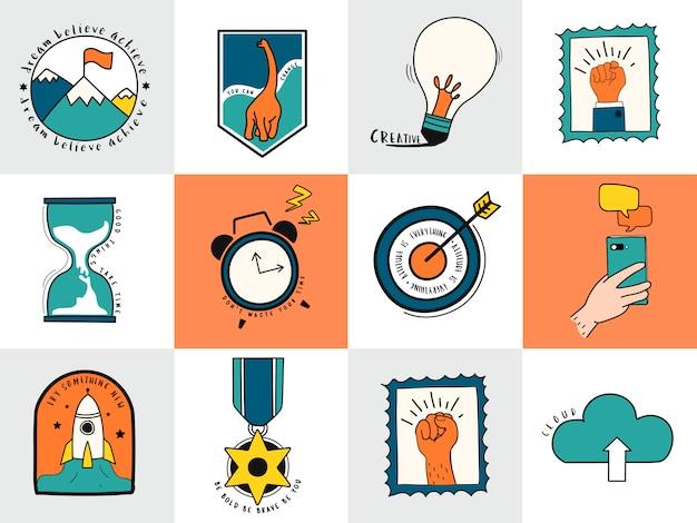 Conjunto dibujado a mano de ilustración de símbolos de idea y negocio