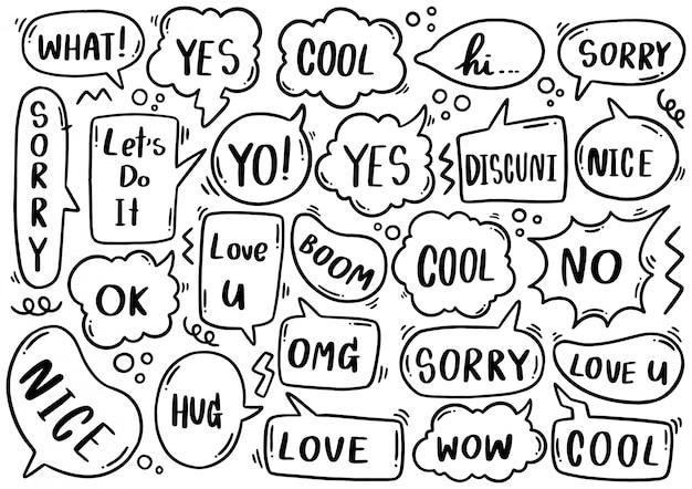 Conjunto dibujado a mano de lindo discurso burbuja eith texto en estilo doodle