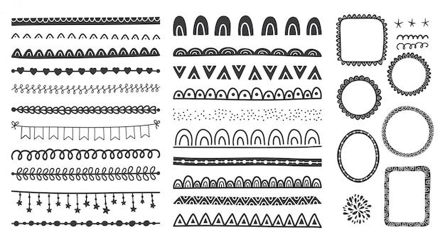 Conjunto dibujado a mano de lindos marcos de doodle, divisores, bordes.