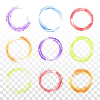 Conjunto de dibujado a mano con línea de círculo doodle dibujo lápiz o pluma graffiti