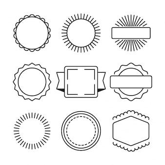 Conjunto dibujado a mano de marco de círculo simple y borde con diferentes formas.