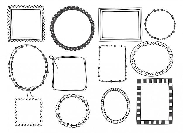 Conjunto dibujado a mano de marco lindo doodle.