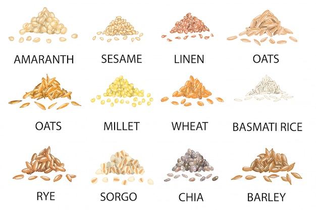 Conjunto de dibujado a mano pilas de granos de cereales de colores.