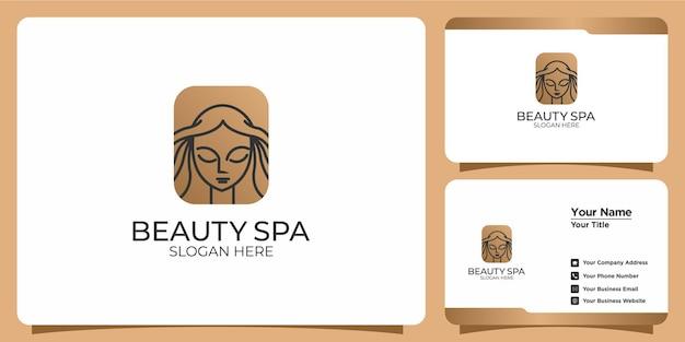 Conjunto dibujado a mano de plantillas de logotipos femeninos para belleza y tarjetas de visita