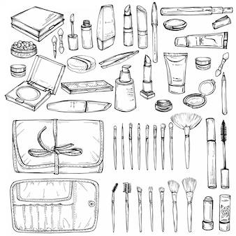 Conjunto dibujado a mano de productos de maquillaje