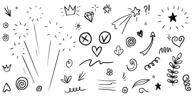 Conjunto de dibujado a mano de rizado swishes, swashes, swoops. flechas abstractas, flecha, corazón, amor, estrella, hoja, sol, luz, flor, corona, rey, reina, en estilo doodle para diseño conceptual. ilustración vectorial.