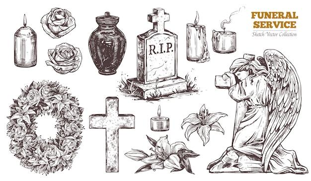 Conjunto de dibujado a mano de servicio funerario. atributos y símbolos de condolencia