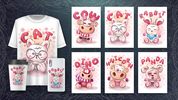 Conjunto de dibujo animal lindo para póster y merchandising