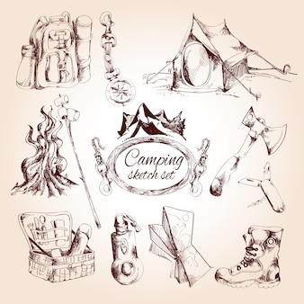 Conjunto de dibujo de camping
