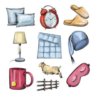 Conjunto de dibujo colorido acuarela de atributos de la hora de dormir.