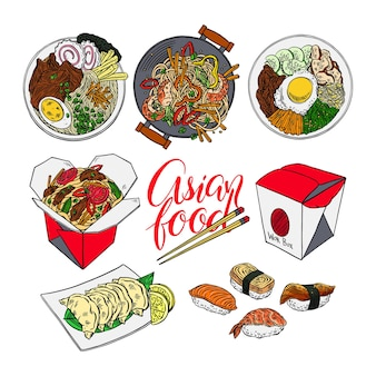 Conjunto de dibujo colorido comida asiática