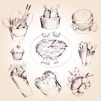 Conjunto de dibujo de comida rápida