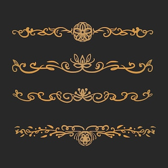 Conjunto de dibujo de divisor de grabado ornamental floral clásico