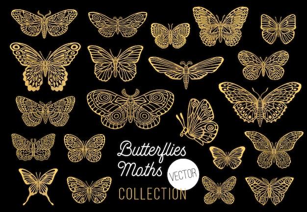 Conjunto de dibujo de mariposas, aislado, colección de estilo de dibujo insertar símbolos de emblema de alas, dorado, dorado, fondo negro. dibujado a mano ilustración.